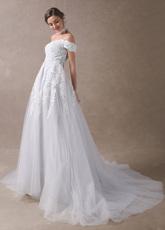 Colored Wedding Dresses Off Shoulder Bridal Dress Choker Lace ...