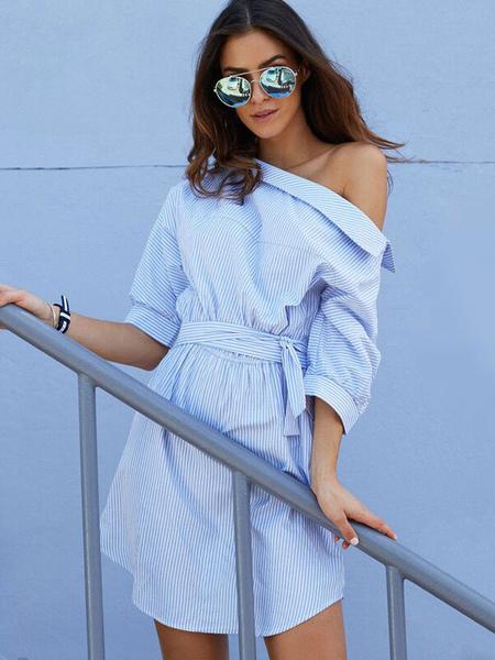 f212940d91d Beach Dress For Women Blue 2019 Shirt Dress Striped Half Sleeve  Asymmetrical Neck Casual Dress ...