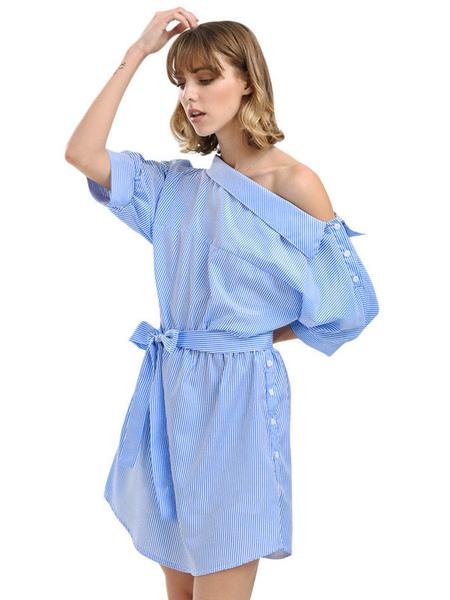 2e378472491 ... Beach Dress For Women Blue 2019 Shirt Dress Striped Half Sleeve  Asymmetrical Neck Casual Dress