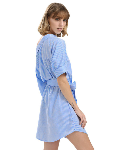 451ee30012d Beach Dress For Women Blue 2019 Shirt Dress Striped Half Sleeve  Asymmetrical Neck Casual Dress-Women s Clothing-promdresscode.com