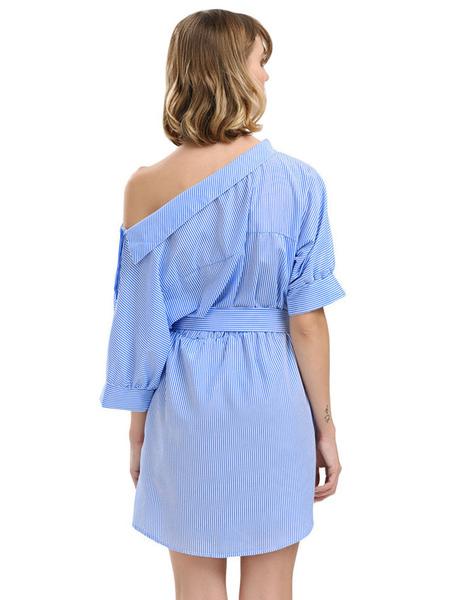ffd70075e6c ... Beach Dress For Women Blue 2019 Shirt Dress Striped Half Sleeve  Asymmetrical Neck Casual Dress ...