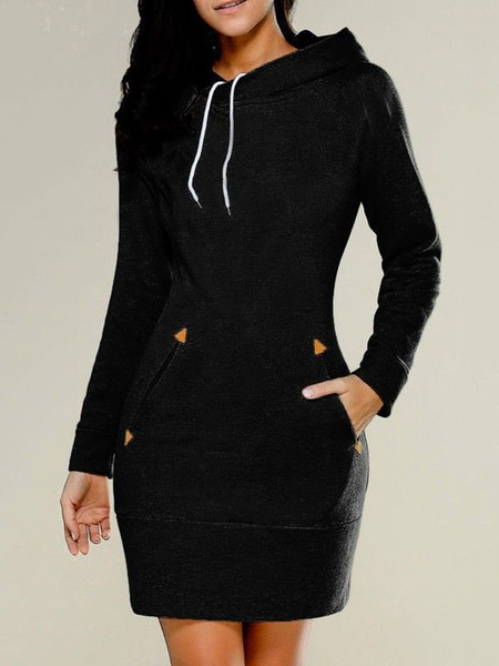 Plus Size Dresses Women Black Dresses Hooded Long Sleeve Pockets ...