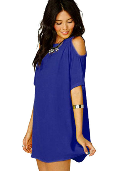 7c96f07a810d ... Chiffon Mini Dress Half Sleeve Round Neck Cold Shoulder Summer Dress ...