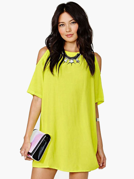 9b69e9b552d6 Chiffon Mini Dress Half Sleeve Round Neck Cold Shoulder Summer Dress ...
