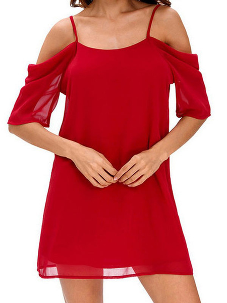 68ef3deb6ec ... Cold Shoulder Dress Chiffon Bridesmaid Dress Half Sleeve 2019 Plus Size  Shift Dress ...