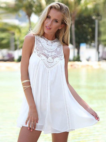 White Dress Lace Summer Sleeveless Tunic Dress Women Sundresses