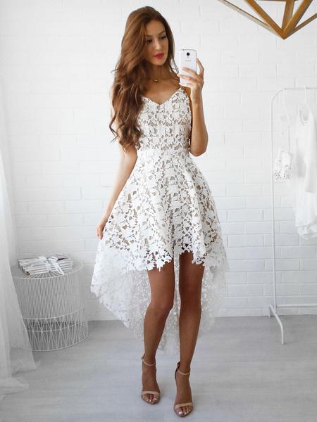 Women Lace Dress High Low Summer Dress Sleeveless Slip Dresses