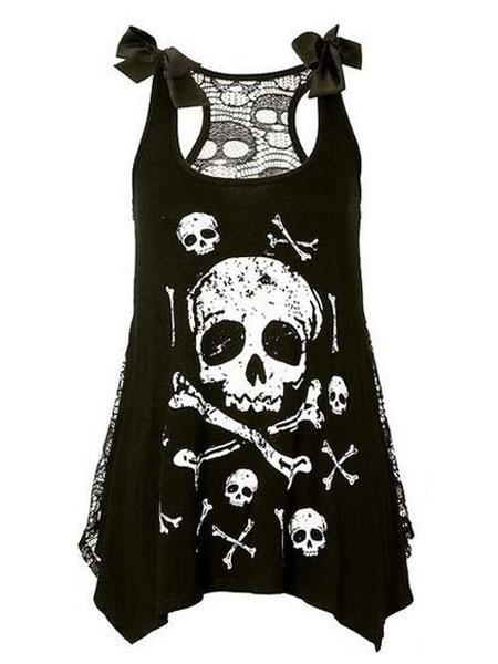 Femme Crâne Dents Lagenlook Halloween Imprimé femmes Oversize Batwing T-shirt Top