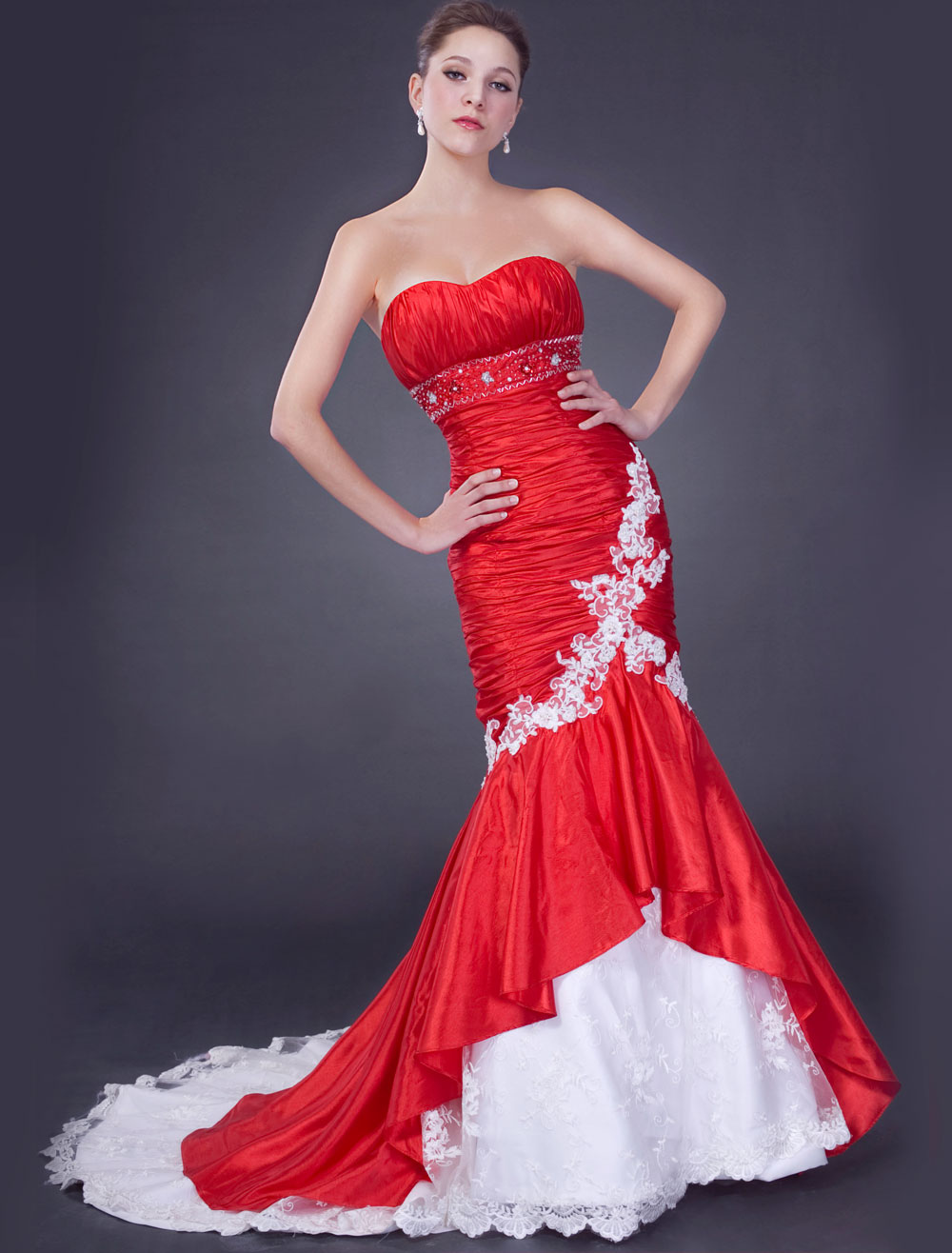 Red Wedding Dresses Sweetheart Mermaid Bridal Gown Ruched Beading ...