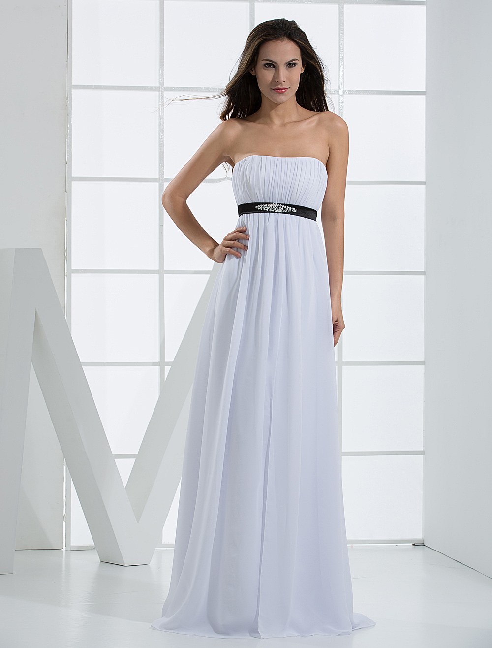 White Evening Dress Strapless Sash Beaded Ruched Chiffon Dress ...