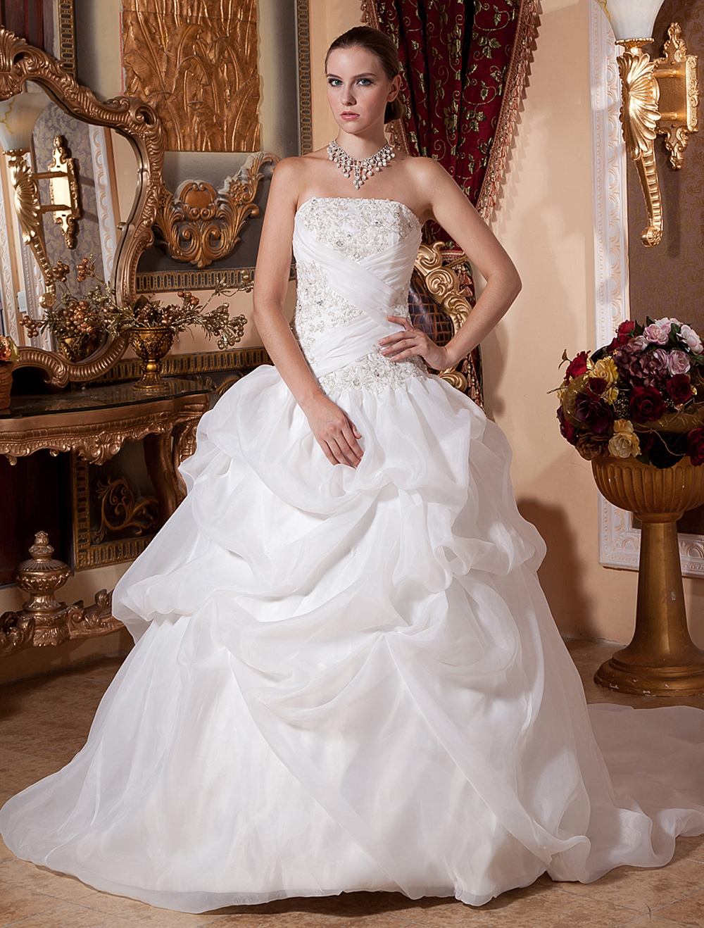 f96274106 White Wedding Dresses Ball Gown Bridal Dress Strapless Organza Beading  Ruched Chapel Train Wedding Gown - Milanoo.com