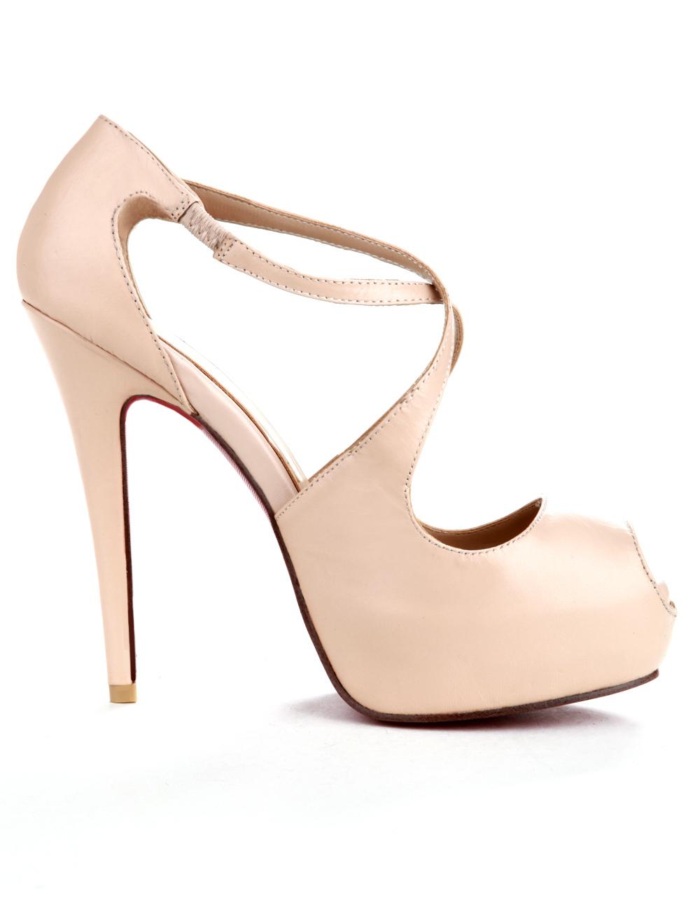 Nude Color Criss-Cross PU Peep Toe Womens Dress Sandals