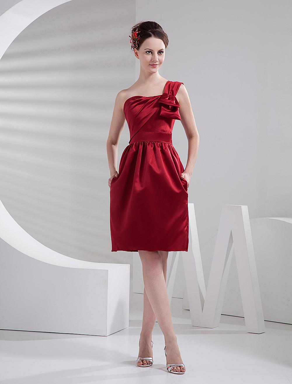 Burgundy Knee Length Satin One-Shoulder Bridesmaid Dress - Milanoo.com