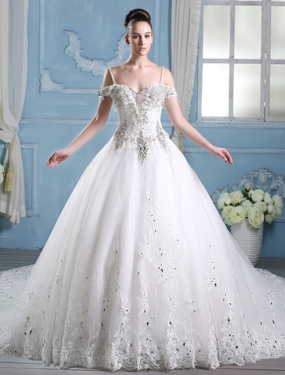 cab06121e2ed5 Wedding Dresses Ball Gown Bridal Dress Rhinestones Beaded Straps Ivory  Cathedral Train Luxury Wedding Gown