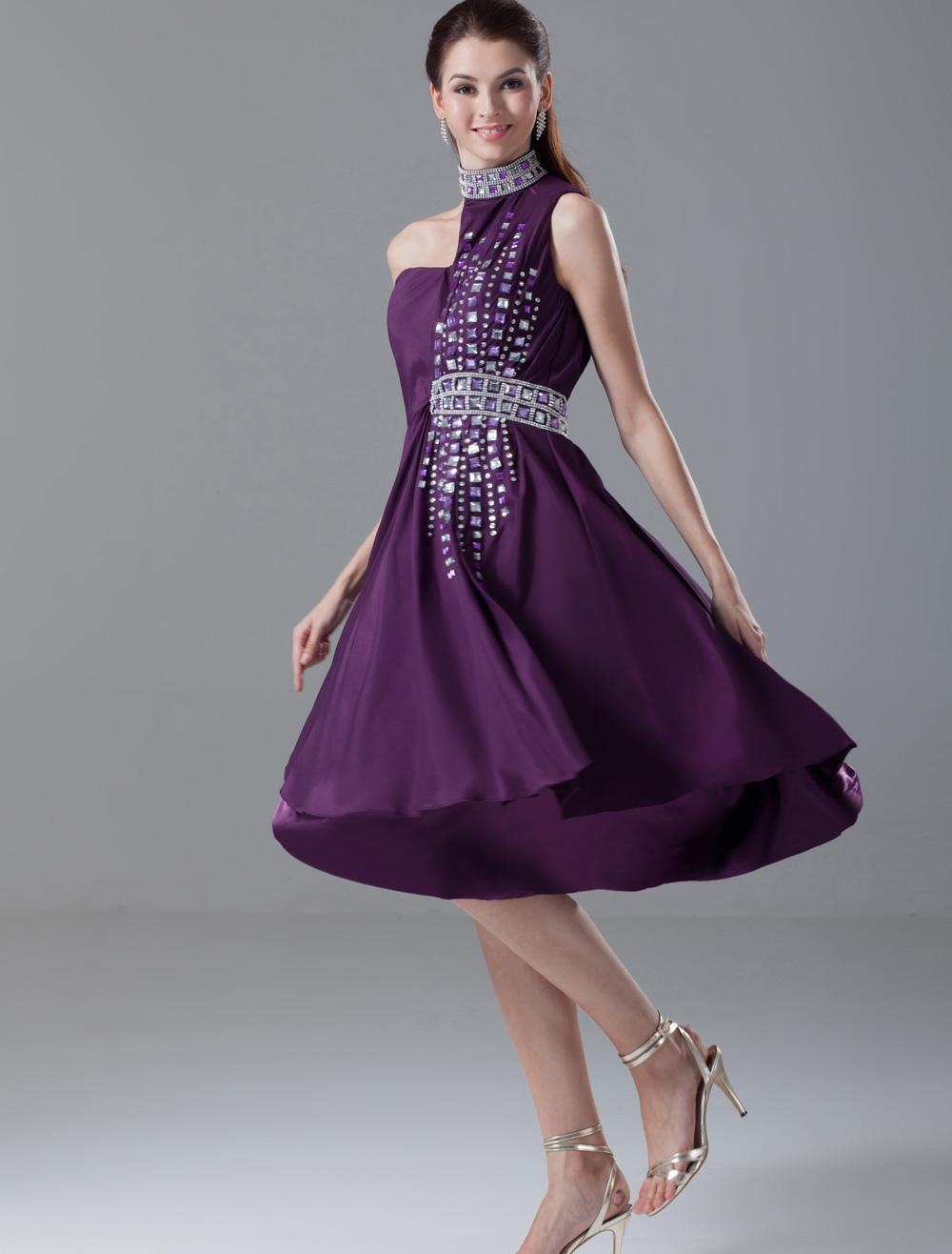 Vestido de cóctel de chifón de color lavanda con escote halter sin ...