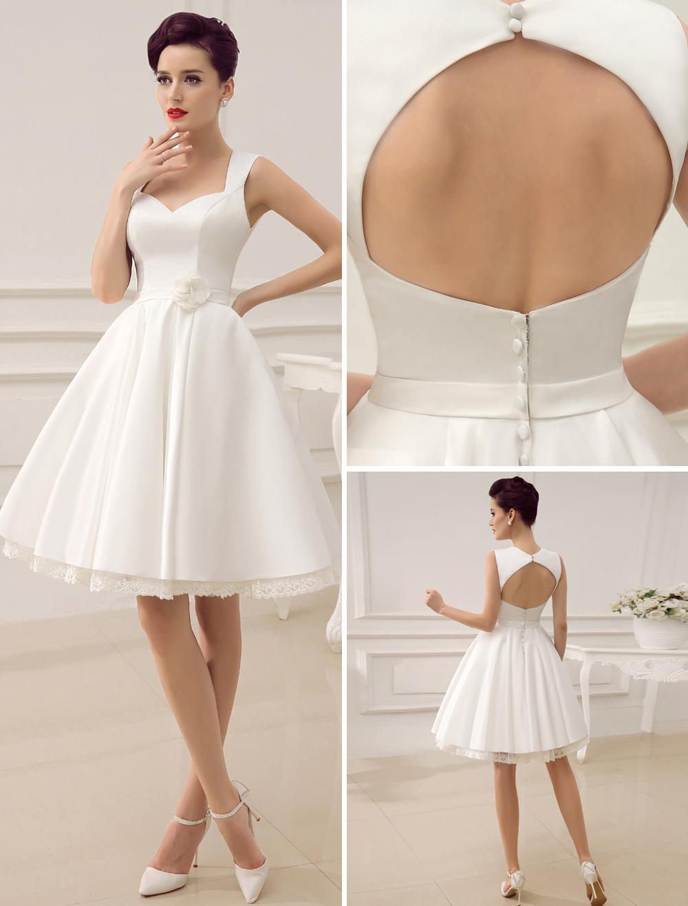 Short Wedding Dresses Satin 1950 S Vintage Bridal Dress Queen Anne Neck Open Back Lace Trim Flower Sash Reception Milanoo