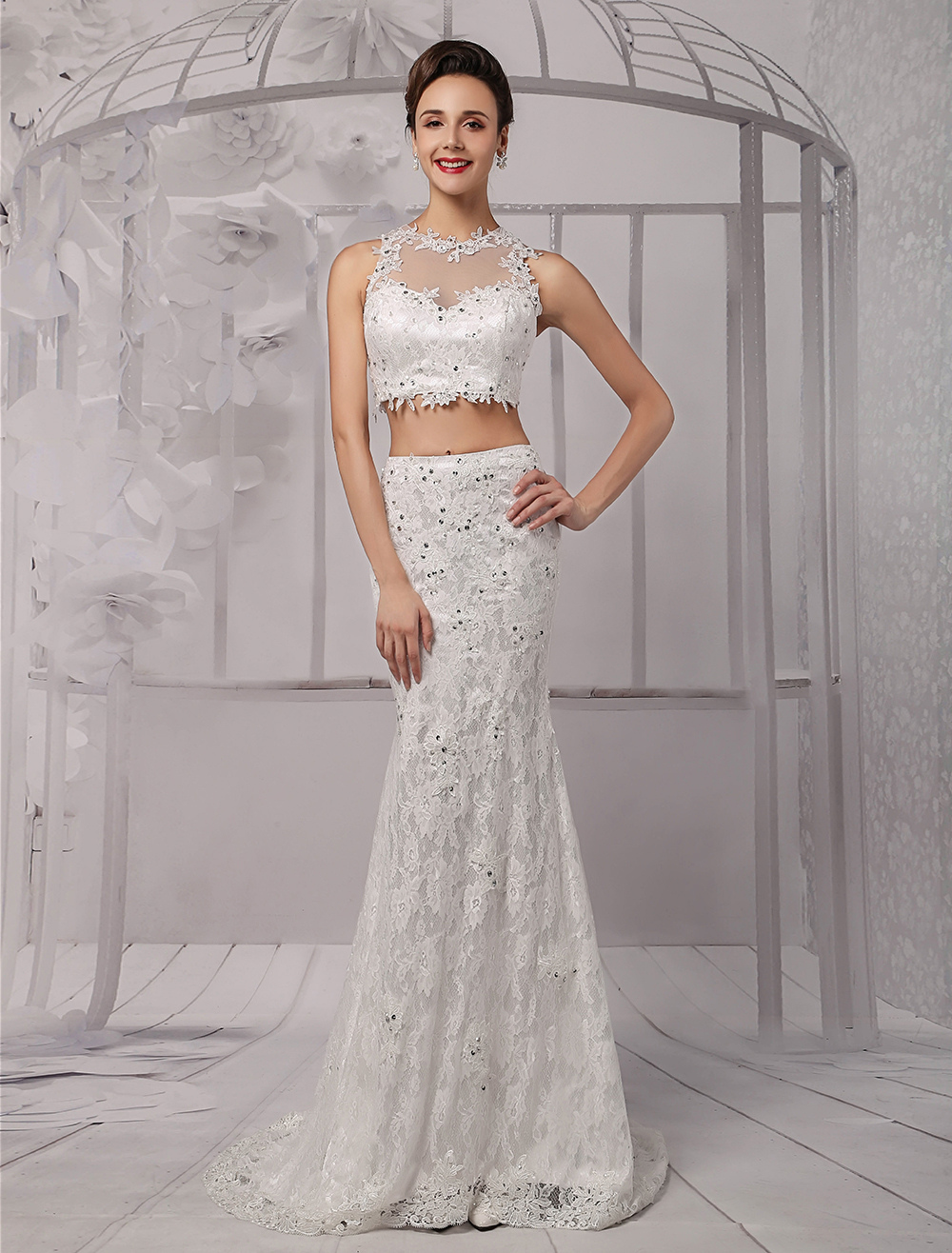 Souvent Two Piece Crop-top Illusion Neckline Lace Mermaid Wedding Dress  MQ99