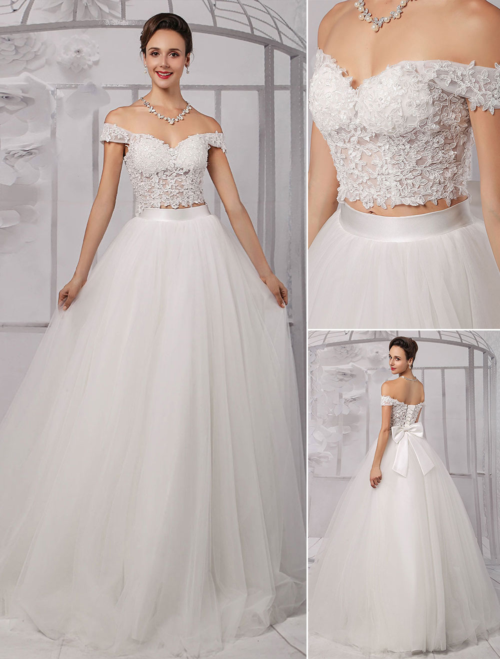 7190fbc10c42f Two-Pieces Crop Top Off-the-shoulder Ball Gown Wedding Dress With Tulle  Skirt Milanoo