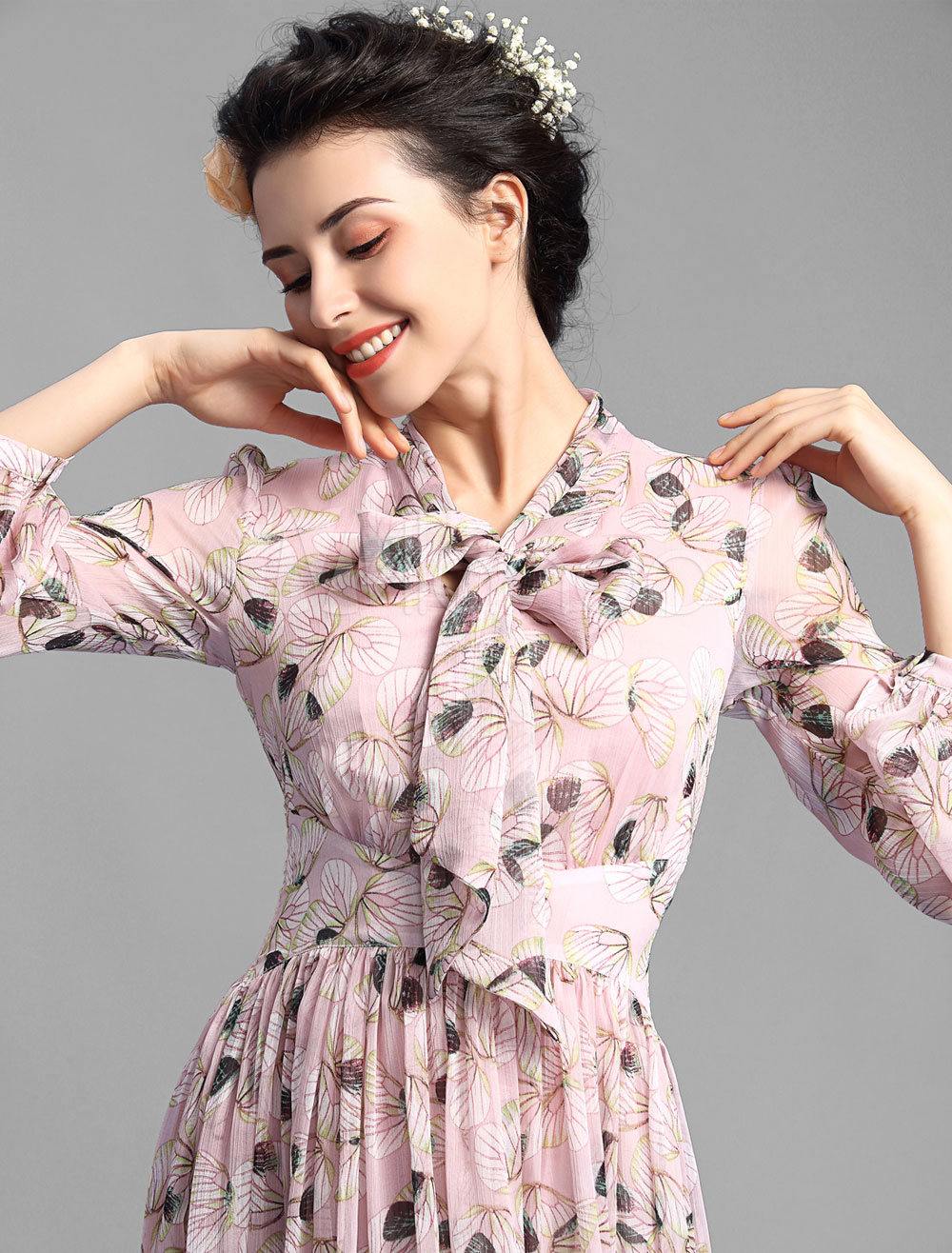 Plissee-Vintage-Kleider verzierte Kragen lange Blätterteig Ärmel ...