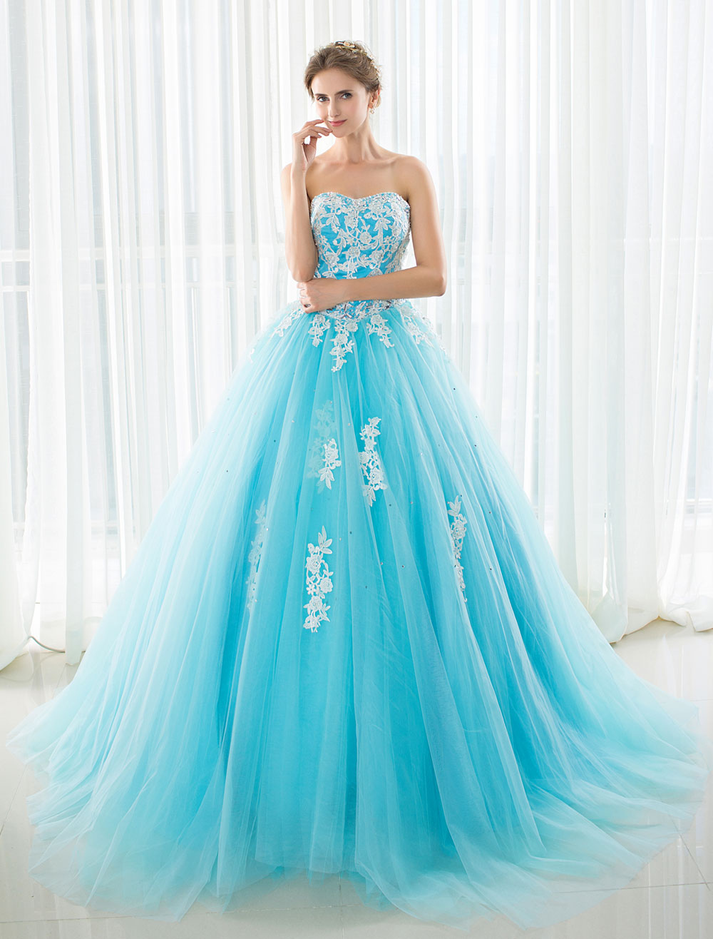 Blue Wedding Dress Lace Applique Tulle Court Train Strapless ...