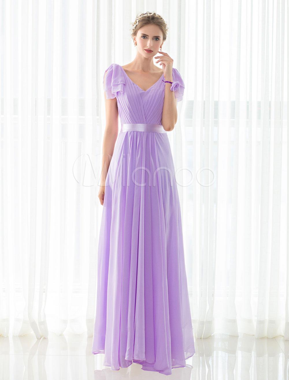 Chifón dama de honor vestido lila Maxi-vestido con cuello en v marco ...