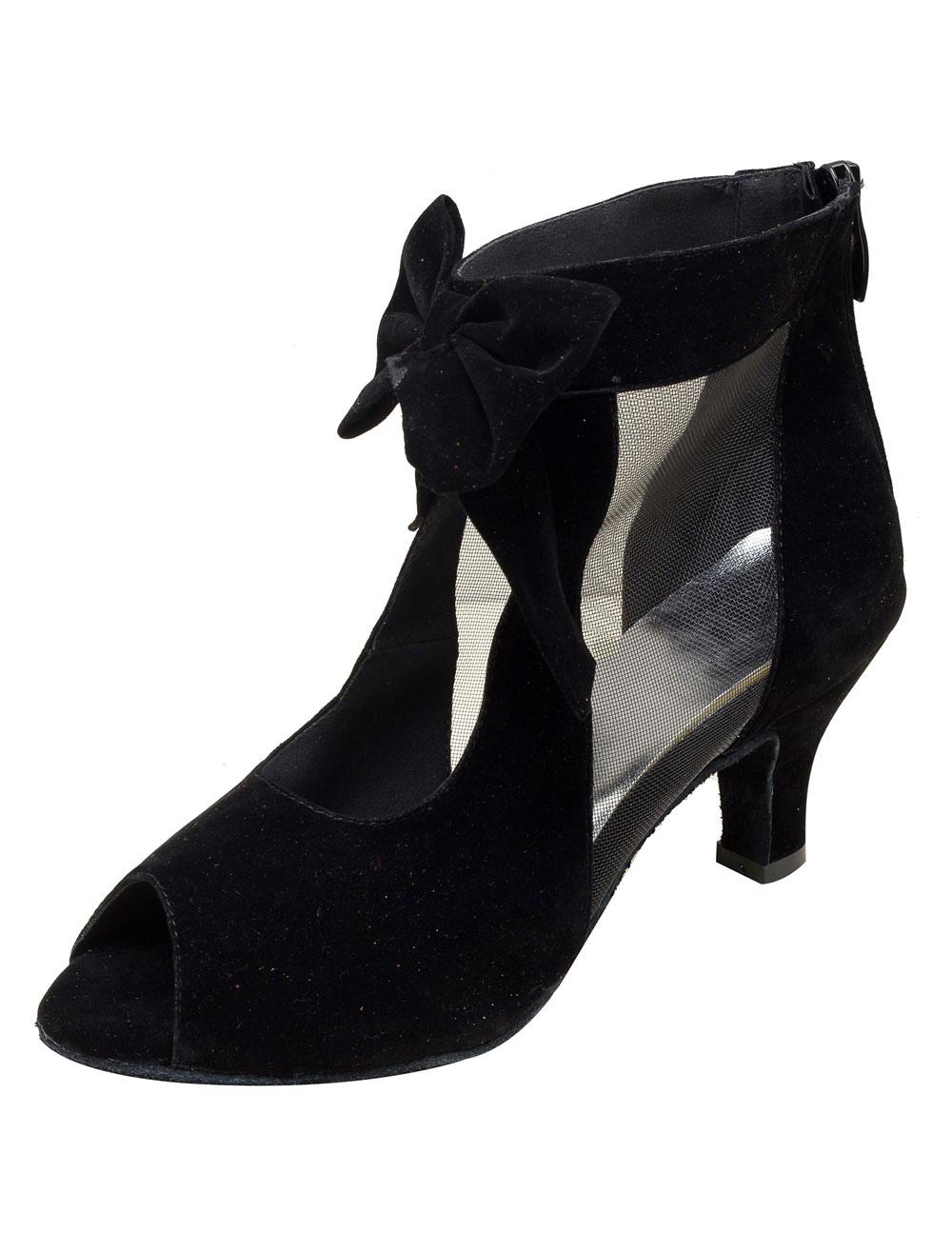 Zapatos de bailes latinos Piel sintética con lazo Tacón bobina para baile de punter Peep Toe wToZPmg