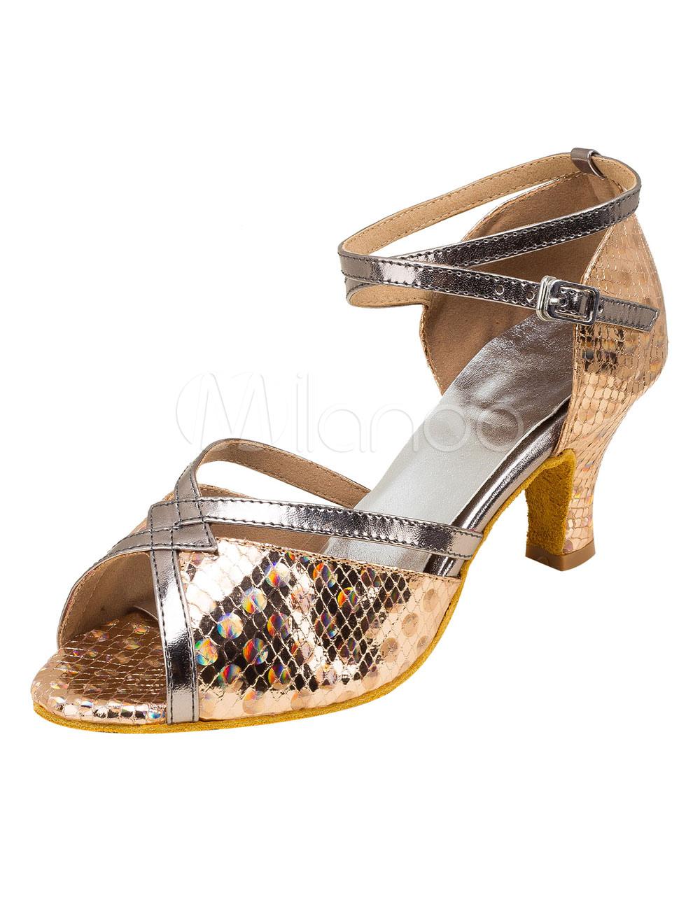 Zapatos de bailes latinos de PU Tacón bobina para baile de punter Peep Toe 8leBxTl9ys