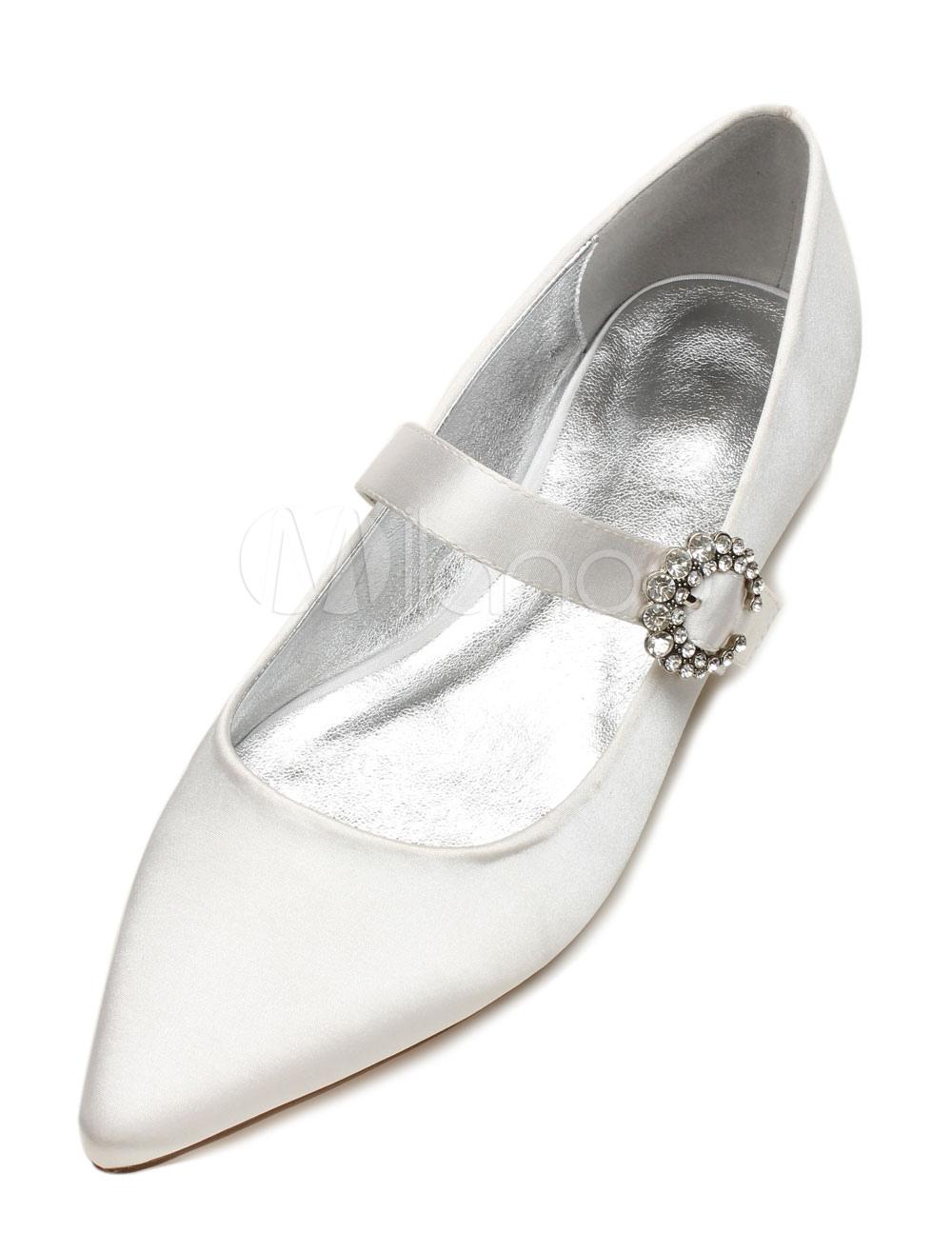 Zapatos de puntera puntiaguada Planos de satén con pedrería elegantes para boda I6PEBy