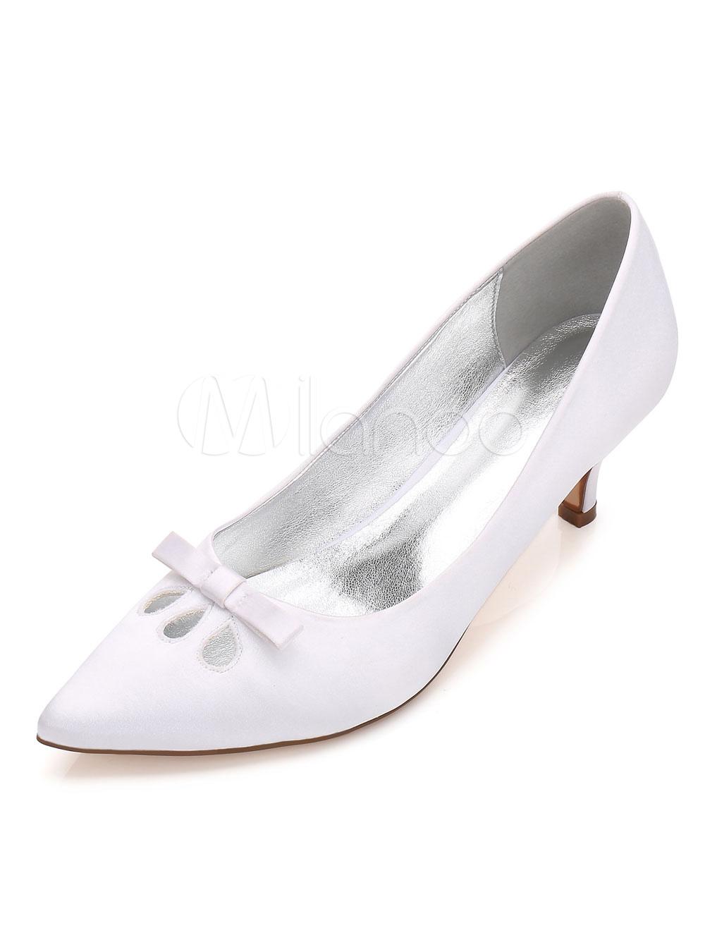 Zapatos de puntera puntiaguada de tacón de kitten de satén con lazo elegantes para boda HqObsLmxF