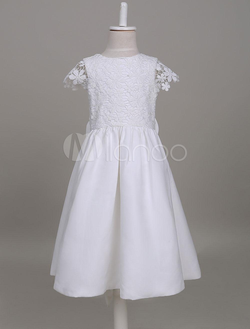 396d620b5 Vestidos de niña de las flores una línea de marfil de manga corta satén de  encaje niños vestido de fiesta social para niñas