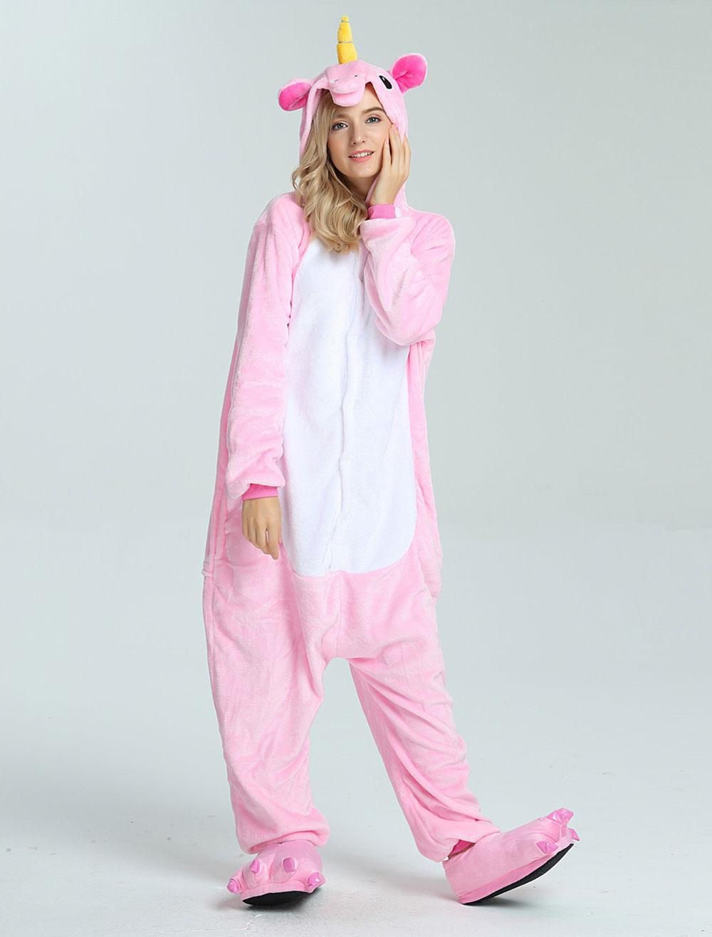 895b3a01522 Unicorn Onesie Kigurumi Adults Unisex Pink Flannel Jumpsuit Halloween -  Milanoo.com