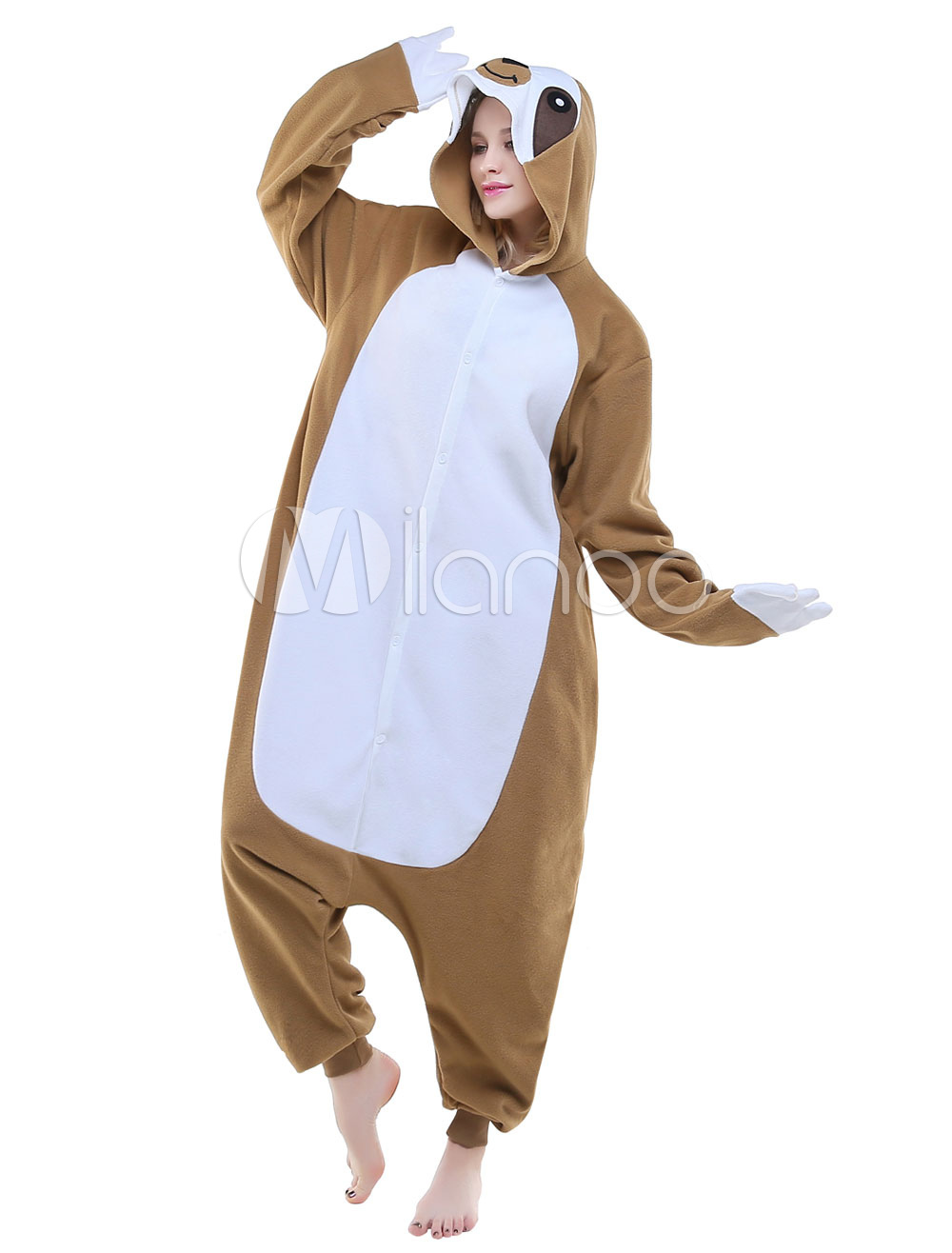 2bb2e7167796 Kigurumi Pajamas Sloth Onesie Adults Flannel Unisex Sleepwear Animal  Costume Halloween - Milanoo.com