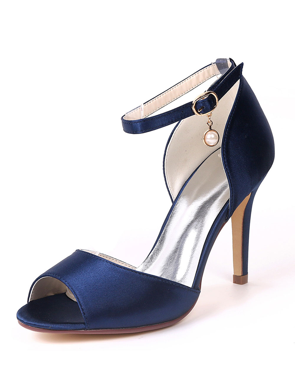 61e29a9a7860 Women High Heels Satin Peep Toe Ankle Strap Wedding Shoes Ink Blue Pearls  Mother Shoes - Milanoo.com