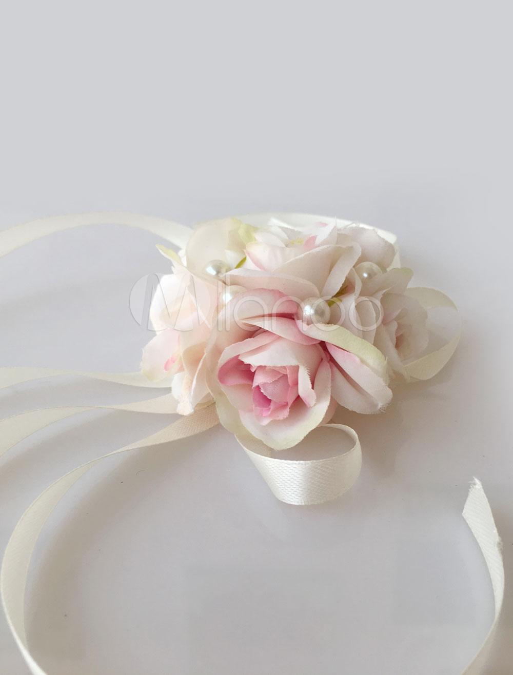 Wedding Wrist Corsage Bridal Pink Flowers Silk Ribbon Bridesmaid