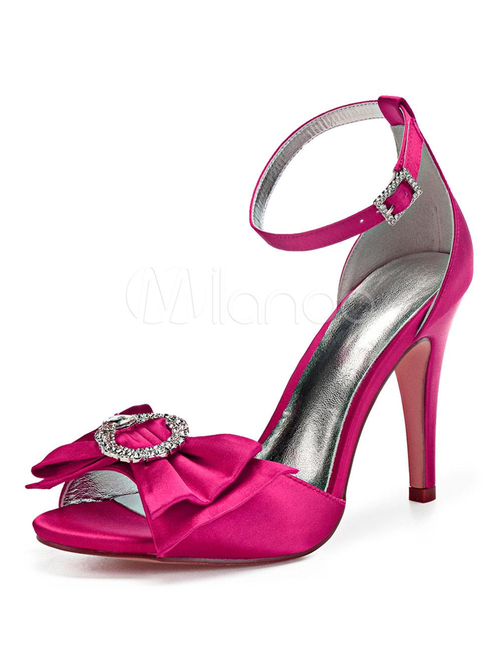 Boda Alto Piedras Sandalias Tobillo Rosa De Del Peep Zapatos Correa Satén Novia Arco Tacón Toe htsdCrQx