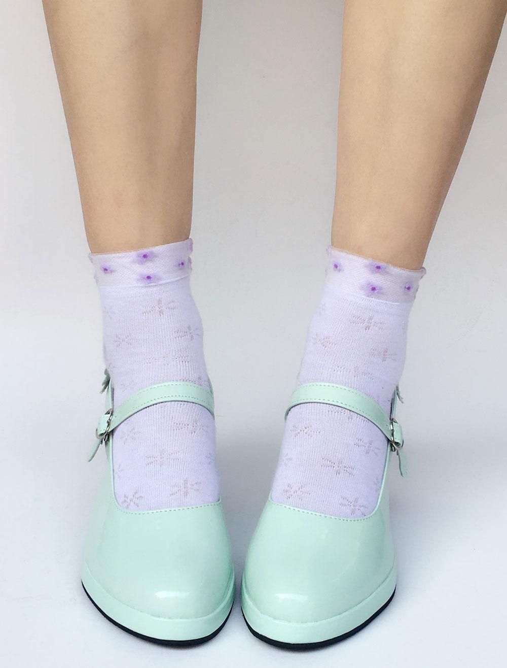 Zapatos de lolita con pala de PU brillante de puntera redonda con lazo Color menta estilo street wear fh8RRSf