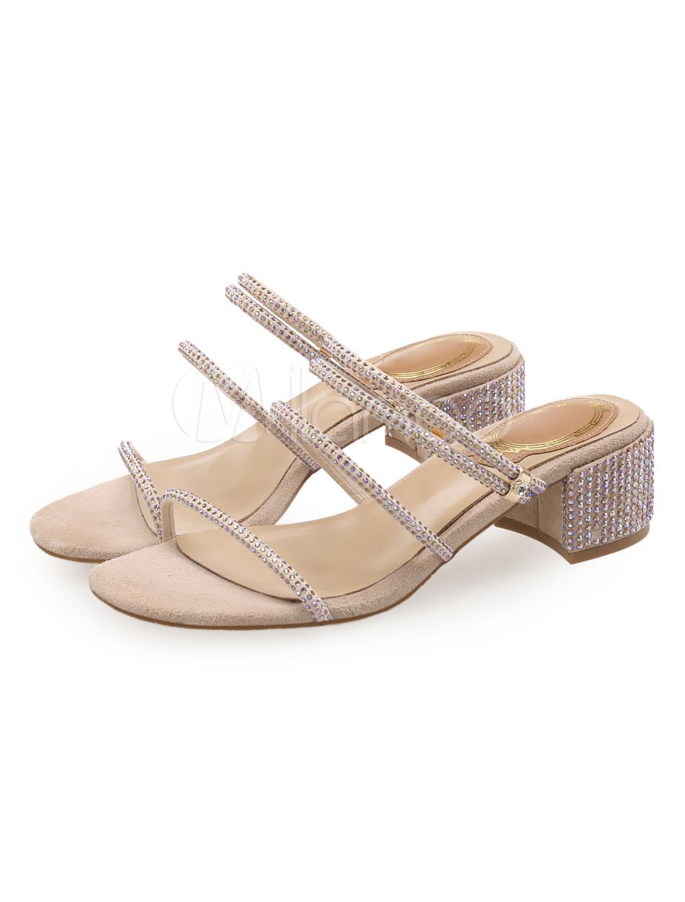 03951df2c09a Block Heel Sandals Apricot Open Toe Rhinestones Strappy Sandal Shoes ...