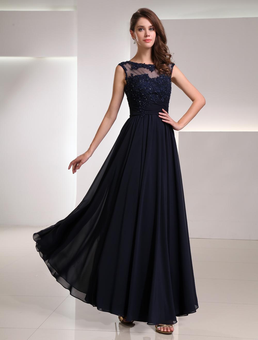 Abendkleid dunkelblau mit spitze