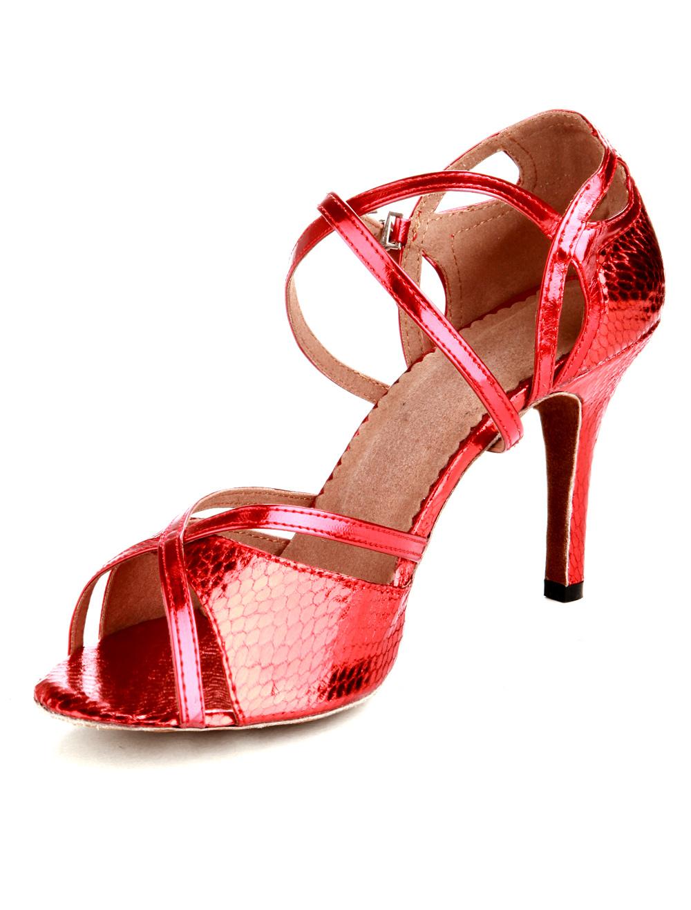 cercare super popolare aspetto estetico Scarpe da ballo latino rosse serpentine con tacchi alti cinturini incrociati