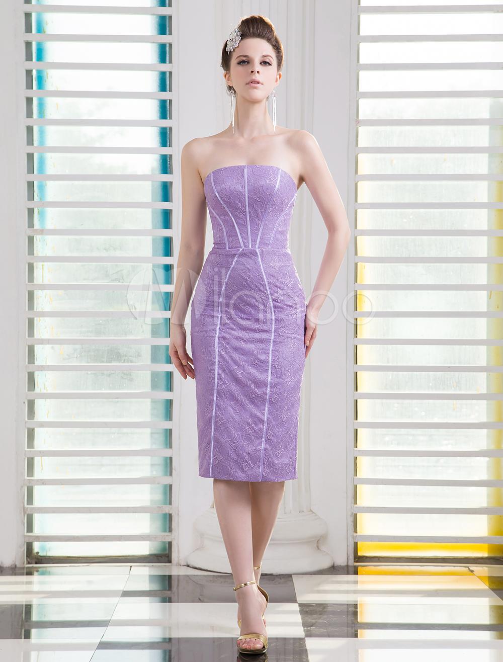 Vestido de cóctel de encaje de color lavanda sin tirantes Milanoo ...