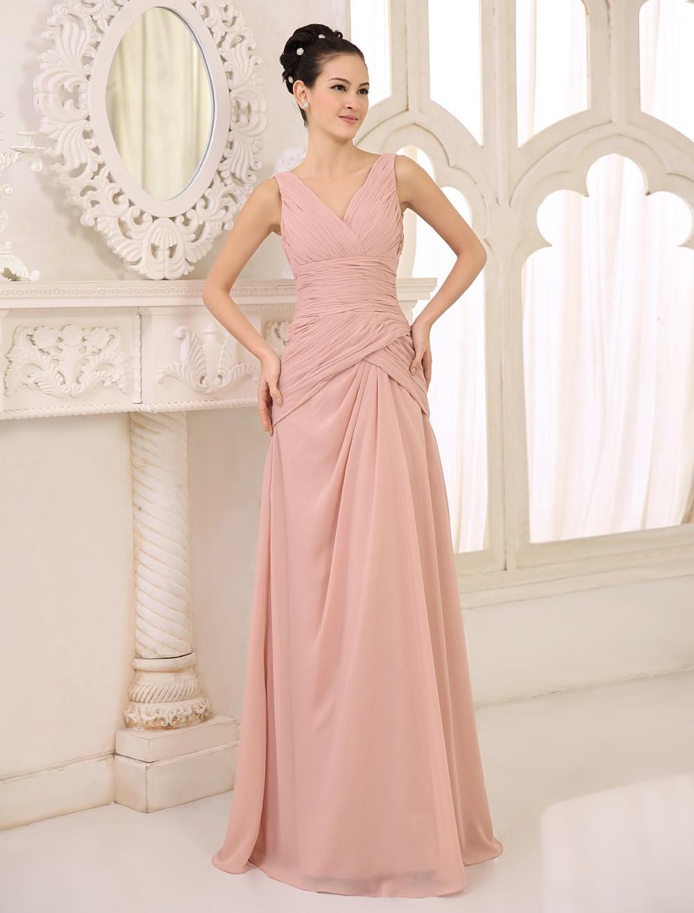 Blush vestido de dama de honor rosa gasa acanalada vestido de fiesta ...