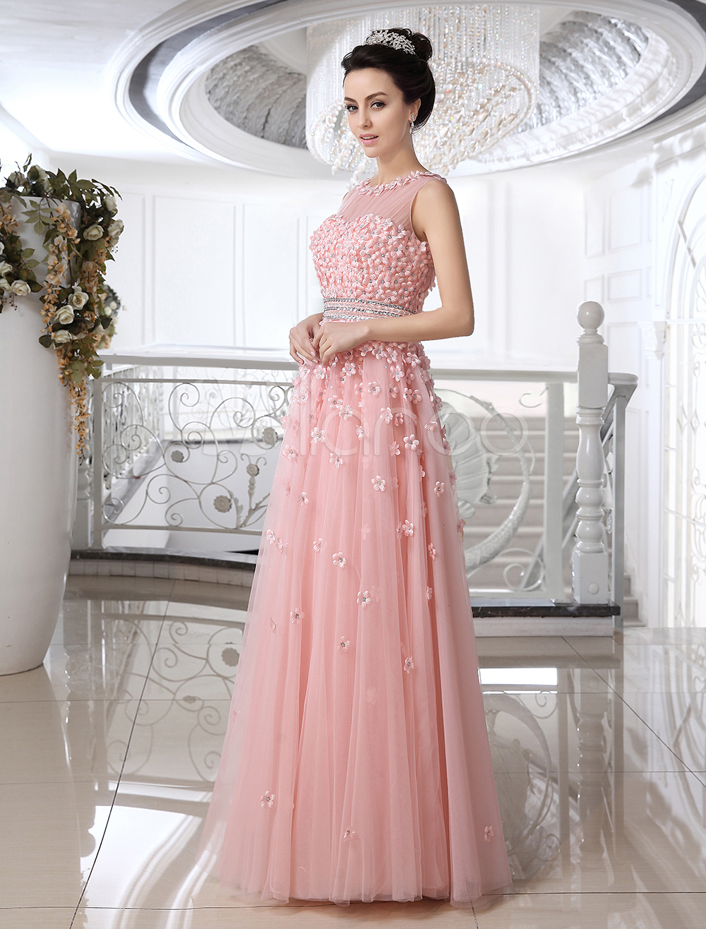 Vestido de novia de tul con escote redondo con flor - Milanoo.com