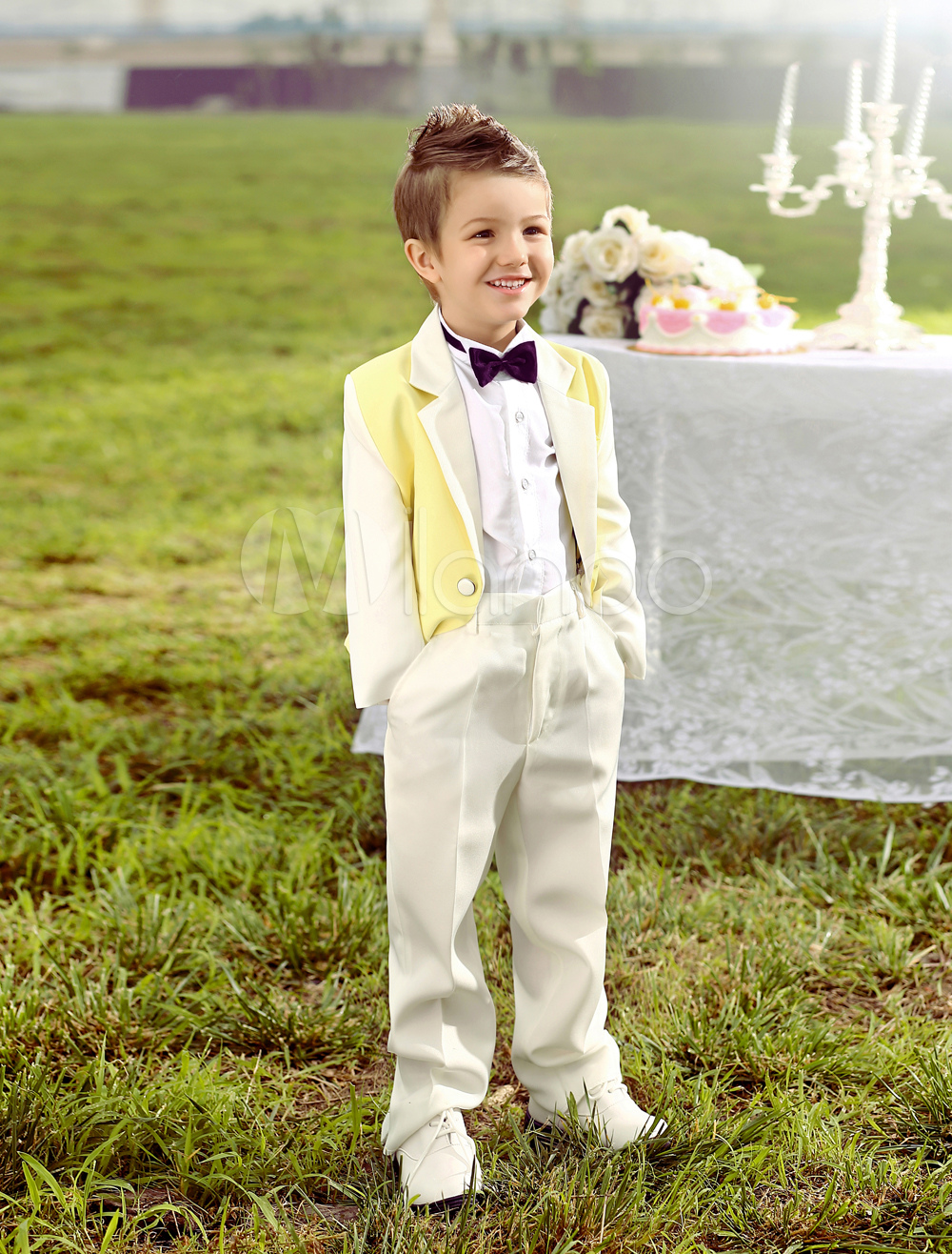 9042e04fa762 Baby Boy Suit Set Kids Wedding Tuxedo Yellow Jacket Pants Shirts Bow Tie 4  Pcs Ring Bearer Suits - Milanoo.com