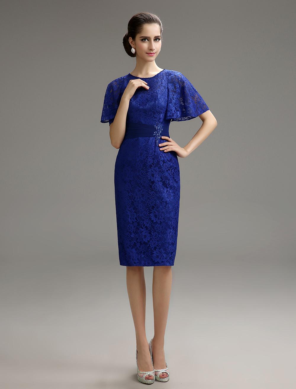 online store 8d20b cf698 Abito in pizzo Blu Royal personalizzato per la madre della sposa Abiti per  Ospiti di Matrimonio