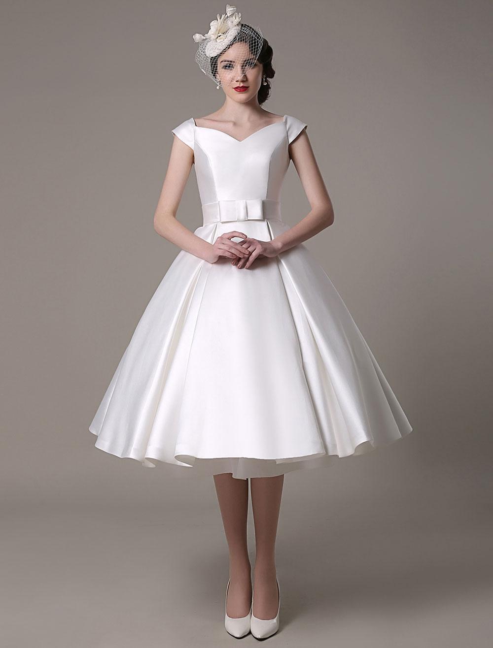 Ivory Wedding Dresses 2019 short satin Knee Length bow