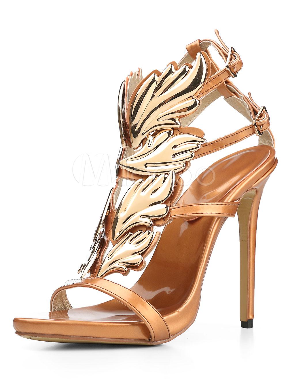Sandales à Bride en T de grande taille ornement métallique mode