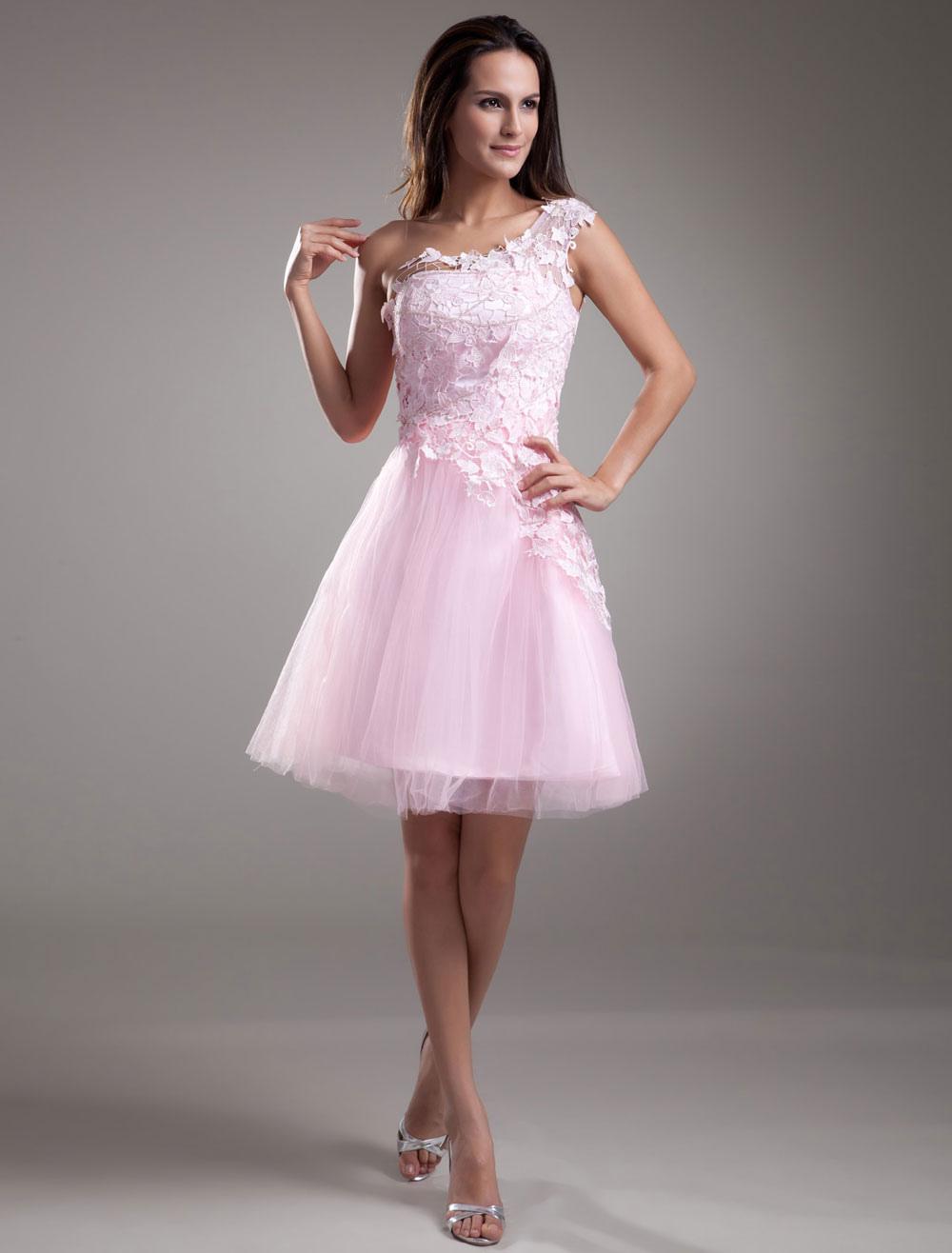 emballage fort bonne texture boutique officielle Robe de soirée pas chère 2019 Dentelle robe de Cocktail Prom courte une  épaule robe rose Tulle Party Dress