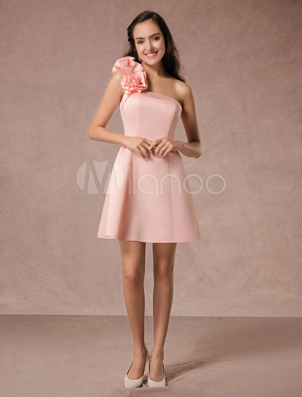 vestidos de gala tela satén rosado ligero con escote a un solo ...
