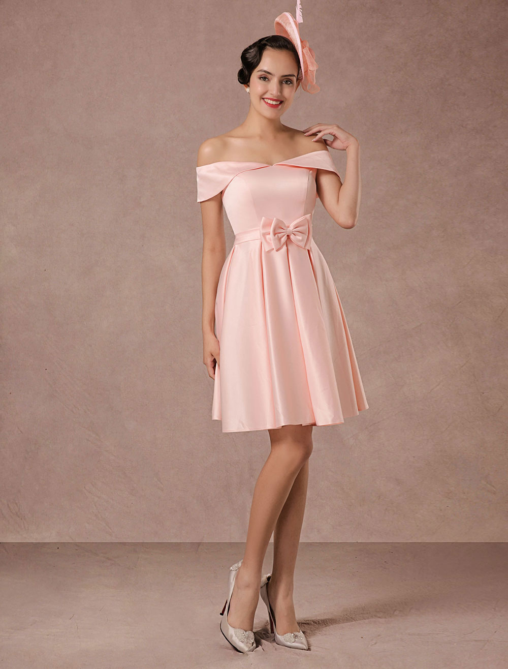 Short Wedding Dress Pink Off-the-shoulder Satin Vintage Summer ...