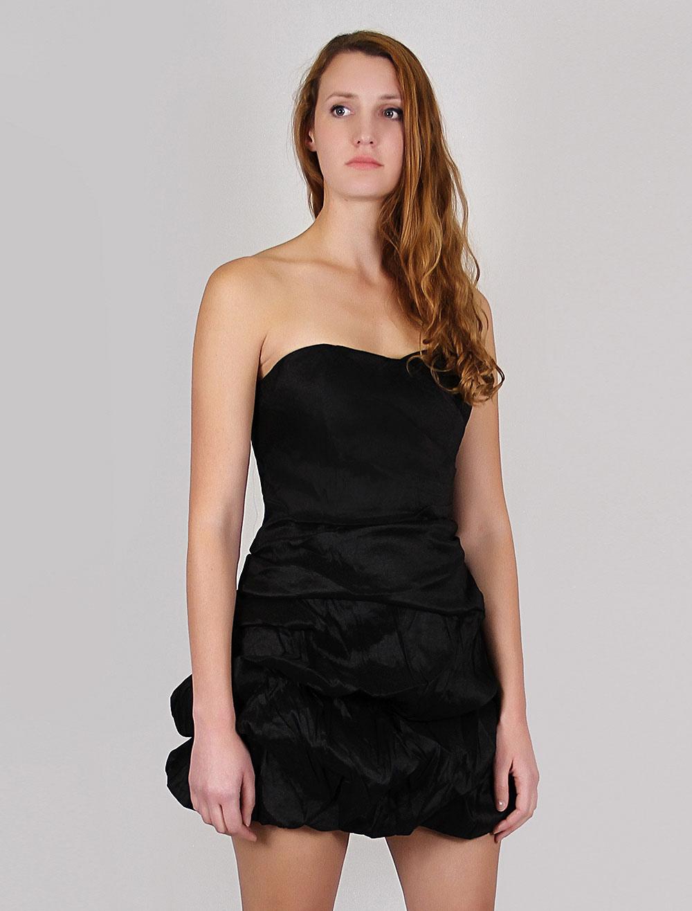 e8b5c8ca7132 Tubino nero corto scollo a cuore senza spalline plissettato per donna -  boutique.milanoo